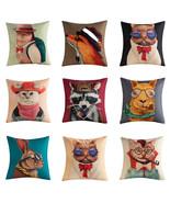 Vintage Cartoon Cat Animal Pillowcase Cotton Linen Throw Pillow Case Hom... - $3.72+