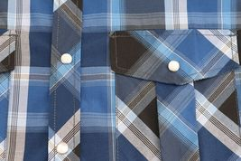 Men's Western Short Sleeve Button Down Casual Plaid Pearl Snap Cowboy Shirt image 11
