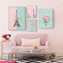Pink Flower Cactus Tower Princess Room Canvas Painting Art Abstract Prin... - $35.95
