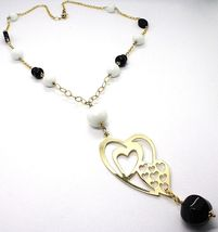 Silver necklace 925, Yellow, Onyx, White Agate, Double Heart Pendant image 3
