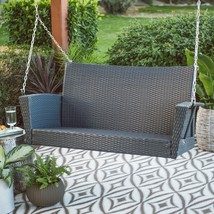 "Modern Brown Resin Wicker 53"" Porch Swing With Cushion Outdoor Patio Fur... - $271.75"