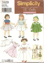 """Retro Doll Clothes Pattern 3929 for 18"""" Dolls NEW - $5.99"""