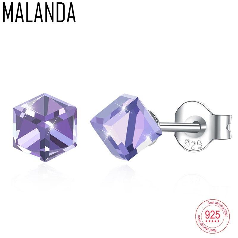 Rom swarovski sterling silver earrings fashion piercing stud earrings for women wedding earrings
