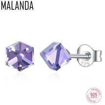 MALANDA Square Crystal From Swarovski Sterling Silver Earrings Fashion P... - $18.74