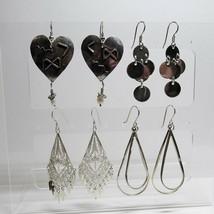 4 Pair Lot SOLID Sterling Silver Larger Sized Teardrop Dangle Earrings 31+ Grams - $71.28