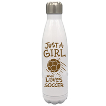 Just a Girl Who Loves Soccer 17oz Stainless Steel Water Bottle Gift Brow... - $34.95