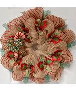 Burlap Candy Cane Deco Mesh Handmade Christmas Wreath - $89.99