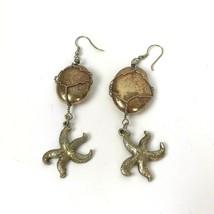 Vtg nautical Statement Dangle Earrings Starfish Hippie Boho Chic Beach g... - $14.80