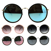 Womens Double Rim Round Circle Lens Mod Designer Sunglasses - $14.95