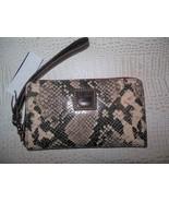 NEW Dooney Bourke Brown Slate Snakeskin Texture Zip Around Phone Wallet ... - $89.99