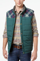 Weatherproof Vintage Men's Plaid Puffer Vest, Forest Green, XL - $49.49