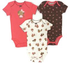 Newborn Carter's Child of Mine 3 Pack Bodysuits Girls Monkey Print Short Sleeve  - $12.84