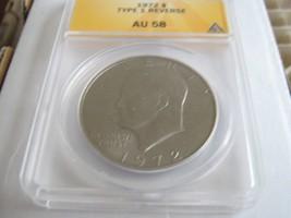 1972 , Eisenhower Dollar , Type 1 Reverse , ANACS , AU 58 , Lot of 3 - $40.00