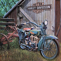 Vintage Harley Davidson barn farm scene reproduced steel sign biker decor - $22.76