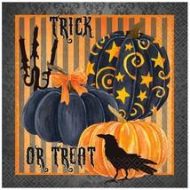 Painted Pumpkin Raven Halloween Lunch Napkins 16 Ct Striped - $3.13