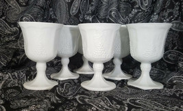 Vintage Colony Glass Harvest Milk Glass Water Goblets - Set of 6 (circa 1960s) - $16.50
