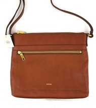 Authentic New Nwt Fossil $168 Leather Evie Brown Large Crossbody Bag - $95.00