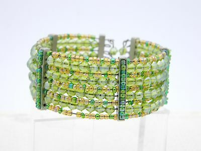 VTG Multi-Colored Green Glass Bead Beaded Cuff Bracelet image 2