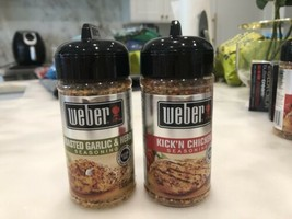 Lot of 2 Weber 1 of Roasted Garlic & Herb Seasoning 5.5 oz & 1 Kick'n Chicken - $18.80