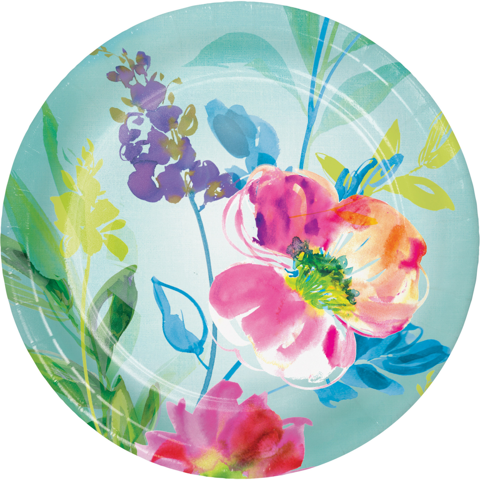 "Painterly Floral 7"" Dia. Paper Luncheon Plate, Case of 96"