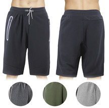 Men's Fleece Drawstring Elastic Waist Zipped Pockets Sport Fitness Sweat Shorts