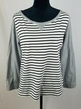 Anthropologie Postmark women M Conductor stripe blouse long tab sleeve - $33.45