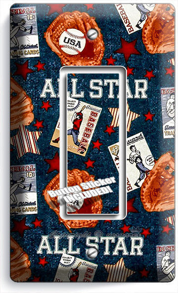 Primary image for BASEBALL VINTAGE ALL STAR SINGLE ROCKER LIGHT SWITCH POWER WALL PLATE ROOM DECOR