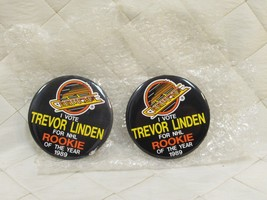 """Trevor Linden Vote NHL Rookie of the Year 1989 Pin Button Badge 3"""" Lot o... - $33.85"""