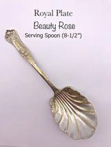 """ROYAL PLATE CO. BEAUTY ROSE SILVER PLATE - 8 1/2"""" SERVING SPOON (18-313) - $9.00"""
