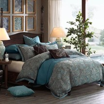 Luxury Blue & Brown Jacquard Paisley Comforter Set AND Decorative Pillows - $427.49+