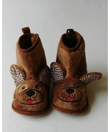 Baby Boy Girl 3-6 Months Brown Faux Fur Dog Face Slippers Crib Shoes Boo... - $10.95