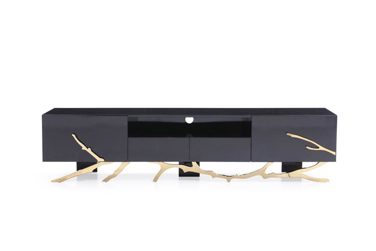 Primary image for Modrest Legend Modern Black & Gold TV Stand