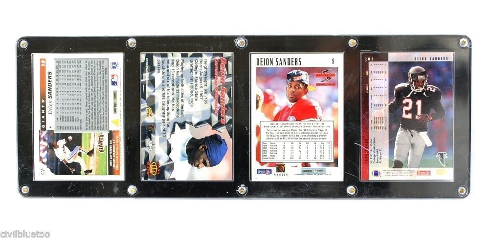 Sports Plaque 4 Cards Deion Sanders SF Atlanta Dallas 1994-96 Football Baseball