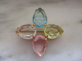 Vintage Avon Gold Tone & Pink, Blue, Yellow & Clear Rhinestone Pin or Br... - $10.00