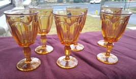 6 Westmoreland Glass 1776 Golden Sunset Amber Colonial Wine Glass Goblet... - $39.00