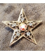 VINTAGE 70'S LIGHT BLUE RHINESTONES WITH LARGE PINK RHINESTONE STAR BROOCH - $50.00