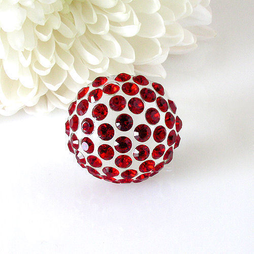 New Clear Acrylic Domed Ring Numerous Red Swarovski Elements Crystal On Dome image 6