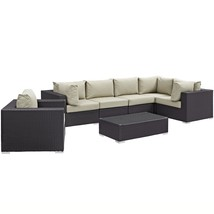 Convene 7 Piece Outdoor Patio Sectional Set Espresso Beige EEI-2157-EXP-... - $2,285.25
