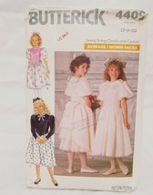 Girls Dress Mid Calf Size 7 - 10 Butterick 4409 Sewing Pattern 1989 Precut - $14.99