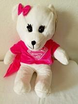 Six Flags Super Girl Bear White Pink Shirt Bow Cape Plush Stuffed Animal... - $24.73