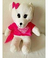 Six Flags Super Girl Bear White Pink Shirt Bow Cape Plush Stuffed Animal... - $24.73