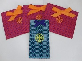 TORY BURCH Fuchsia & Blue Paper Shopping Gift Bag w/Bow Tie Lot of 4 - $17.45