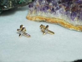 10K Diminutive Diamond Cross Solid Yellow Gold Stud Post Earrings Dainty - $257.39