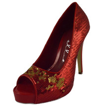 High Heel Red Open Toe Glitter Pump Ellie Shoe ... - $48.95