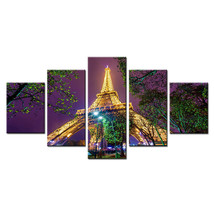 Eiffel Tower By Night View  5 Piece Canvas Art Wall Art Picture Home Decor - $24.00+