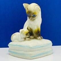 Mann music box japan Siamese cat kitten 1982 vintage pillow ceramic vtg ... - $62.67