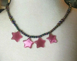 Necklace with Pink Cats Eye Pendants Rainbow Hematite Beads Natural Stone - $24.74