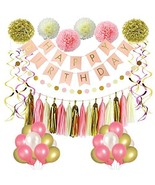 LITAUS Pink and Gold Birthday Decorations, Party Decorations Supplies, H... - $22.93