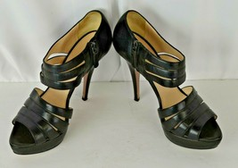 Prada High Heel Peep Toe Strappy Black Side Zip Shoes Size 38.5 Leather ... - $115.28