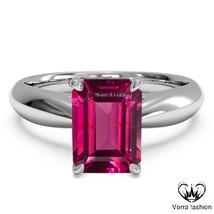 Pink Sapphire Rectangular Shape White Gold Fn. 925 Silver Solitaire Wedd... - $75.99